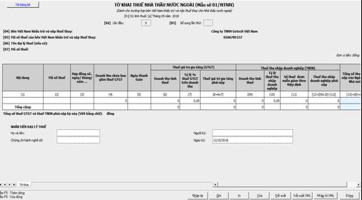 Chi tiết tờ khai thuế nhà thầu qua mạng